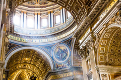 St Peter's Basilica, Vatican, Rome - Colour Version (King Grecko) Tags: architecture catholiscm christianity colourimage dome italia pattern religion stpetersbasilica travel traveldestinations vaticancity basilica building canon canoneos5dmk3 catholic color contrast faith geometric history italian italy lightroom photoborder religious rim rome rotunda shape texture vatican