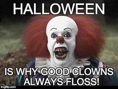 Scary clown, floss