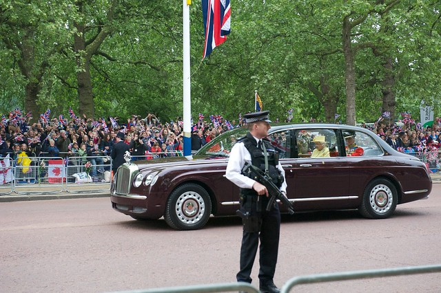 The car carrying Queen Elizabeth II and Prince Philip, Duke of Edinburgh to Westminster abbey for the wedding of Prince William of Wales and KATE MIDDLETON.