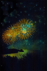 HaPPy New Year 2015. No. 8812. (Izakigur) Tags: friends lake green water yellow night stars gold schweiz switzerland boat nikon europa europe flickr suisse suiza fireworks swiss feel lac sua svizzera neuchatel lepetitprince thelittleprince feuxdartifice dieschweiz lacdeneuchatel romandie myswitzerland ilpiccoloprincipe lasuisse 100faves 200faves  300faves 400faves nikond700 nikkor2470f28 izakigur izakigur2014 happynewyear2015