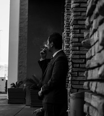 Smoke Break (mcgrimsl) Tags: street portrait break candid smoke sony smoking alpha 55210 a6000