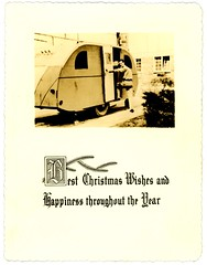 Best Wishes for a Travel Trailer Christmas (Alan Mays) Tags: christmas xmas old men vintage cards typography holidays doors photos ephemera vehicles photographs type opening christmascards greetings fonts trailers entering typefaces foundphotos greetingcards traveltrailers december25 photographicgreetingcards