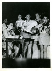 Boy Playing Violin with Children by a Table with a Menorah (Center for Jewish History, NYC) Tags: hanukkah jewishholidays hadassaharchives hadassahcollection