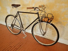 Classic-Style City Roadster (guidedbybicycle) Tags: city urban orange bike bicycle stem aluminum bell crane handmade steel frame commuter custom velo quill fenders lug nitto lugs lugged 1x9