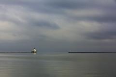 Milwaukee Harbor (wacphoto) Tags: blue winter lighthouse lake water wisconsin photography harbor photo cloudy monotone lakemichigan milwaukee breakwater waterscape wendychapman