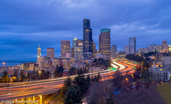 Seattle Downtown Skyline (Jose Rizal Bridge) (jabbar_jigariyo) Tags: seattle city longexposure nightphotography bridge blue light sky urban cloud skyline architecture night skyscraper buildings outdoors washington twilight downtown cityscape nightscape dusk trails freeway pacificnorthwest pugetsound rizal bluehour curve joserizalbridge