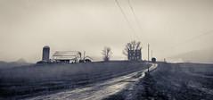 Farmhouse behind the mist (H@ziq) Tags: bw usa mist america landscape washington angle farm sony united wide retro line tokina 28 states lead whitetail a77 pensylvania 1116mm