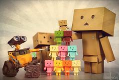 Danbo Pyramido (Figure Focus) Tags: family original toys mini retro collection cardboard figurines pixar normal nano figures kaiyodo yotsuba danbo  danbooru revoltech  walle danboard  cardbo danboru