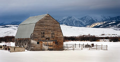 Wyoming Winter (tomkellyphoto) Tags: ranch winter usa snow storm mountains clouds barn rural farm rustic grover wyoming afton
