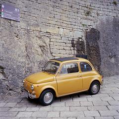 San Marino. (wojszyca) Tags: auto classic 6x6 tlr car mediumformat sanmarino fiat kodak mat 124g epson 100 500 yashica gossen ektar 4990 lunaprosbc soloparking