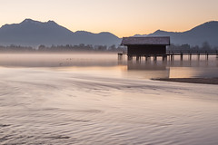 Pre sunrise at lake Chiemsee [Explored] (Sunny Herzinger) Tags: lake sunrise canon germany de landscape flow bayern bavaria europa jetty chiemsee prien 6d herkunft chiemgau dedeutschland