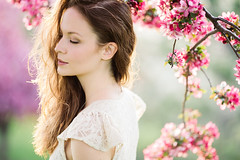 Spring Time Portrait (nicksparksphotography) Tags: pink flowers portrait people woman brown white tree female zeiss canon hair cherry spring model eyes colorado closed seasons dress blossoms free denver apo cherryblossoms f2 eyesclosed springtime 135mm pinkflowers brownhair freepeople whitedress zeiss135mmf2apo canon5dsr 5dsr