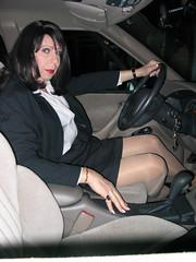 'Drivin in my car, (miss_lisa_dee) Tags: car makeup crossdressing blouse tgirl wig tranny transvestite fingernails pantyhose crossdresser trannie crossdressed cdtv jjacket publicdressing
