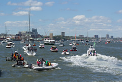 Sunday Afternoon Traffic (anetherly) Tags: nyc water sailboat boat sailing traffic manhattan racing catamaran hudsonriver rushhour americascup