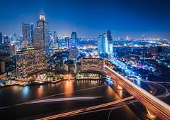 Bangkok lights (Castelaze_Studio) Tags: city blue urban building skyline night river thailand lights cityscape bangkok capital skyscrappers hour thailande buidings beboy