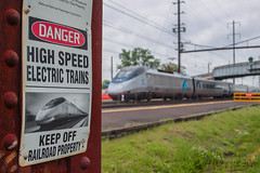 You've been warned... (Darryl Rule's Photography) Tags: station clouds train spring pennsylvania may siemens trains pa signals amtrak passenger septa buckscounty westbound acela eastbound levittown passengertrain northeastcorridor pennsylvaniarailroad pennsy tullytown northeastregional acs64 citiessprinter