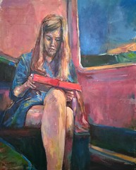 Woman on train with laptop (Captain Wakefield) Tags: pink light woman abstract colour art train painting reading legs laptop passenger samuel burton