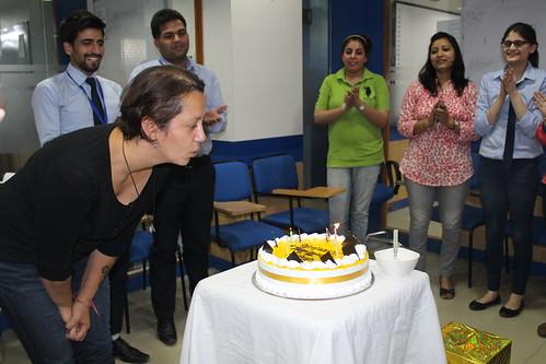 Birthday celebrations of native speaker trainer at LinguaSoft EduTech Chandigarh