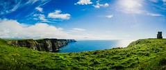 Sunny Afternoon at the Cliffs of Moher (NeicyMurphy) Tags: blue ireland wild panorama green clouds way clare skies cliffs atlantic photomerge moher munster