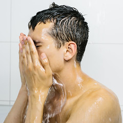 Man Washing Face (danielfoster437) Tags: bathroom conditioner facialcare hairwashing handsomemale handsomeman intheshower male man mancleaningface manwashingface manwashinghair manwashinghishair portrait scrubbingface shampoo showering splashingwater takingashower washingface washinghairshower youngmale youngman