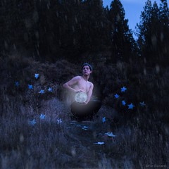 Yue (Fer Siciliano) Tags: blue boy moon cold flower art face fairytale forest photoshop gold glow arte skin magic fineart fine young luna fantasy bosque mystical conceptual dreamland brillo yue manipulate