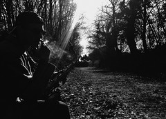 Obscure (Anasse N.) Tags: trees portrait music white black me nature smoke musica and cigarettes sax saxophone