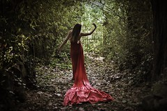 Bring me to serenity (Sus Blanco) Tags: artisticportrait serenity red conceptual fineart fairytale trees noise