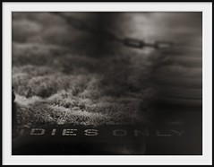 dies only (Andrew C Wallace) Tags: street blur history sign sepia lensbaby fence ir pavement australia melbourne pedestrian olympus victoria chain motionblur infrared stpaulscathedral seating curb footpath tiltshift ladiesonly nikon50mmf14 microfourthirds tilttransformer olympusomdem5