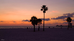 At the end of the day (lamnn92) Tags: ocean trees sunset sky orange water colors clouds fire sand pentax palm clearwaterbeach k50 pier60 18270