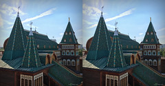 Palace in Kolomenskoe in Moscow (urix5) Tags: park stereoscopic 3d crosseyed russia moscow palace roofs stereo stereopair ru kolomenskoye iphone moskva kolomenskoe crossview kolomenskoje