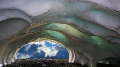 ice cave - escape to the void (xtremepeaks) Tags: snow ice cave view clouds melting bc canada glacier escape void cool summer