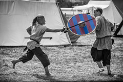 vikings fighting (huddart_martin) Tags: vikings norway norge fighting sword shield blackandwhite colours action history historic norse gudvangen kids children people sonya77