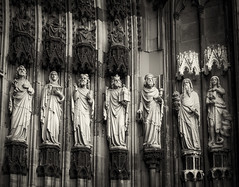 Cologne Cathedral Sculptures (1mpl) Tags: olympusomdem1 germany travelphotography cologne colognecathedral sculptures religiousart bw monochrome niksilverefexpro