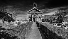 Glynde Church (andy p m) Tags: glynde lewes stmaryschurchglynde sussex blackandwhite church churchdoor churchyard hedges mono monochrome openchurchdoor pathtochurch