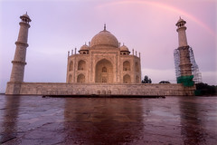 Taj Mahal with Rainbow (Ashmalikphotography) Tags: sunset rainbow tejomahalaya architecture sky minarets pinkishsky sunsetaura hindutemple 7wondersoftheworld worldhasbeenduped colors colorsofindia incredibleindia