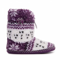 Jessica - Fairisle Sherpa Fleece Short Slipper Boots - Plum / White (Bedroom Athletics) Tags: womens jessica fairisle sherpa fleece short slipper boots plum white by bedroom athletics upper classic teddy lining grosgrain branded zip pull closure embroidered logo nonslip textile covered tpr sole bedroomathletics bed button brand british