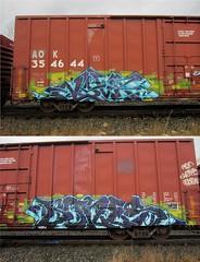 NOVA, BONES (YardJock) Tags: railroad metal train graffiti steel spraypaint freighttrain rollingstock benching benchreport