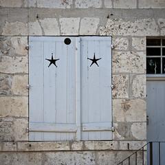 no peeping! (penwren) Tags: france window cutout stars wooden shutters