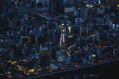 Shinsekai (Sandro Bisaro) Tags: city longexposure urban japan skyline canon buildings dark japanese lowlight cityscape aerialview 大阪 日本 nippon osaka nihon 通天閣 shinsekai tsutenkaku megacity 新世界 tsutenkakutower canon5dmarkiii canon7020028iiusm sandrobisaro