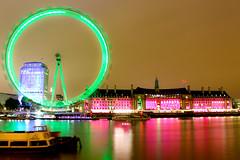 Long exposure - London Eye (_ACharles) Tags: uk longexposure pink red green london eye colors westminster night lights long exposure colours britain londoneye parliament