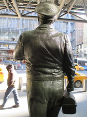 Ralph Kramden on a Sunny Day 3643 (Brechtbug) Tags: new york city winter holiday cold bus weather statue bronze port lunch is jackie uniform day authority january tie sunny front terminal an midtown his while chilly jolly gleason ralph stands drivers straightening pail clutching clad manhattans honeymooners 2015 kramden eightfoottall kramdon 01082015