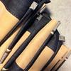 Sewing the bags (pini piru) Tags: handmade thenetherlands screenprinting purse bags recycling handbag limitededition collaboration upholstery rawedge jeansfabric pinipiru leftoverfabrics koutkunstje
