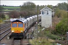 Coal Traffic (tatrakoda) Tags: uk england train geotagged diesel britain engine railway loco lincolnshire east british locomotive signal semaphore signalbox class66 barnetby 66715