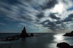 Arrecife de las sirenas (Rubn Aranda) Tags: blue sea white lightpainting black night de lights cabo gata nocturnas almera