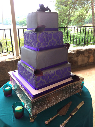 """A pewter and purple square contempory wedding cake. • <a style=""""font-size:0.8em;"""" href=""""http://www.flickr.com/photos/50891271@N03/15725172764/"""" target=""""_blank"""">View on Flickr</a>"""