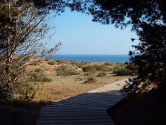 To the beach (ExeDave) Tags: sea espaa holiday rock landscape spain mediterranean dune rocky espana murcia trail coastal april boardwalk grassland med iba iberia 2014 regionalpark calblanque parqueregional montedelascenizasandpeadelguila p4160298 senderosenelparqueregionaldecalblanque