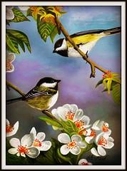 Zwei Zeisige auf einem Kirschbaum (LOMO56) Tags: kunst realismus lgemlde finken zeisige europischefinken