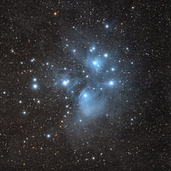 M45, Pleiades [test] (agavephoto) Tags: longexposure blue colour nature night square stars space telescope astrophotography m45 astronomy universe sevensisters depth tracking pleiades guiding starcluster primefocus meropenebula autoguider reflectionnebulae farawaythings relativelyclose inthemilkyway nakedeyeobjects