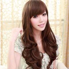วิกผมยาว แบบสาวเกาหลีหน้าม้าปลายดัดลอนใหญ่ นำเข้า สีน้ำตาล พร้อมส่งW002 ราคา670บาท  โทรสั่งของกับ พี่โน๊ต/พี่เจี๊ยบ : 083-1797221, 086-3320788, 02-9394933 | LINE User ID : lotusnoss และ lotusnoss.com #วิกผมยาว #วิกผมยาวดัดลอน #วิกผมหน้าม้า