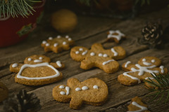 homemade ginger cookies (Zoryanchik) Tags: christmas winter food brown house holiday man cookies closeup festive table dessert ginger baking wooden cookie sweet background traditional decoration gingerbread biscuit homemade icing tradition decorated